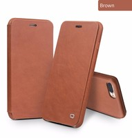 QIALINO Case for iPhone 8 7 4.7 Luxury Genuine Leather Flip Folio Opening Cover for iphone 7 8 Plus with Hidden Magnetic Snap