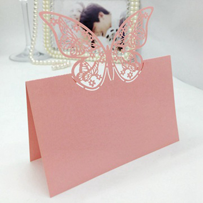 CDP009 Laser Cut Place Card Customized Hollow Butterfly Wholesale Wedding Decorations Party Supplies Cards Free Shipping In DIY From