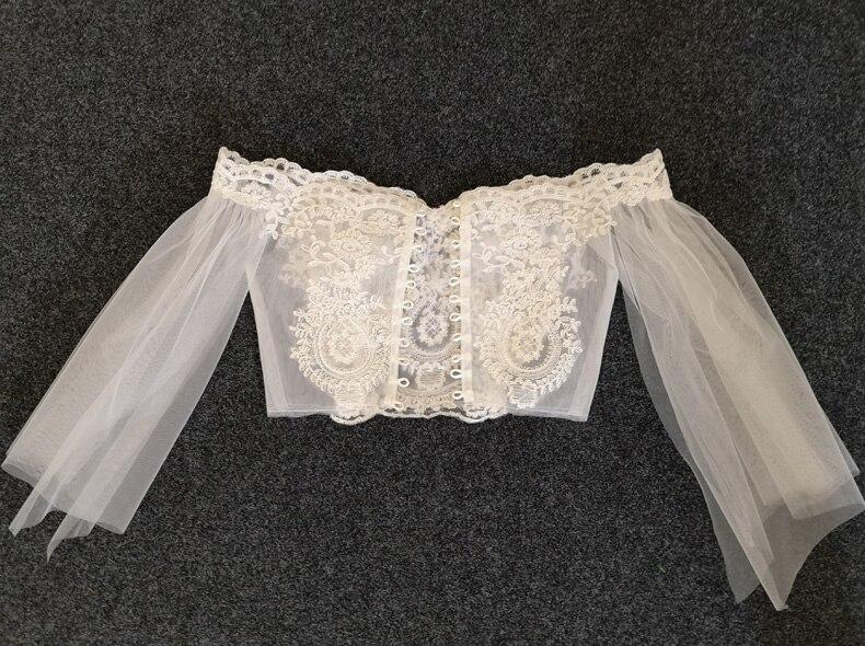 Long-sleeve Wedding Dress, Lace Shawl Dress,White Bridal Shawls Bolero Lace Custom Made Bride Jacket Wrap