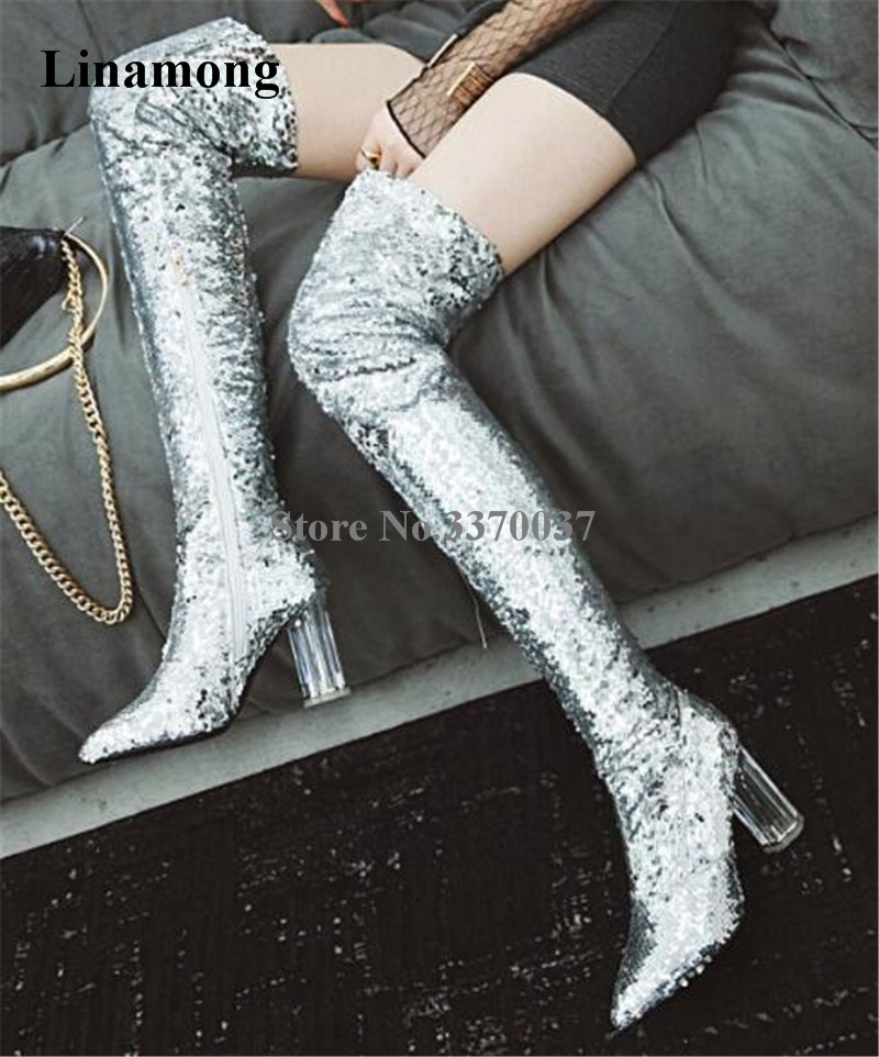 Newest Women Pointed Toe Bling Bling Sequined Over Knee Clear Transparent Chunky Heel Boots Blue Silver Long Crystal Heel Boots цены онлайн