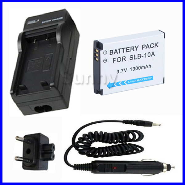 SLB-10A Battery + Charger for <font><b>Samsung</b></font> EX2F,WB150F,WB250F,WB350F,WB500,WB550,WB750,WB800F,WB850F,<font><b>WB1100F</b></font>,WB2100 Digital Camera image