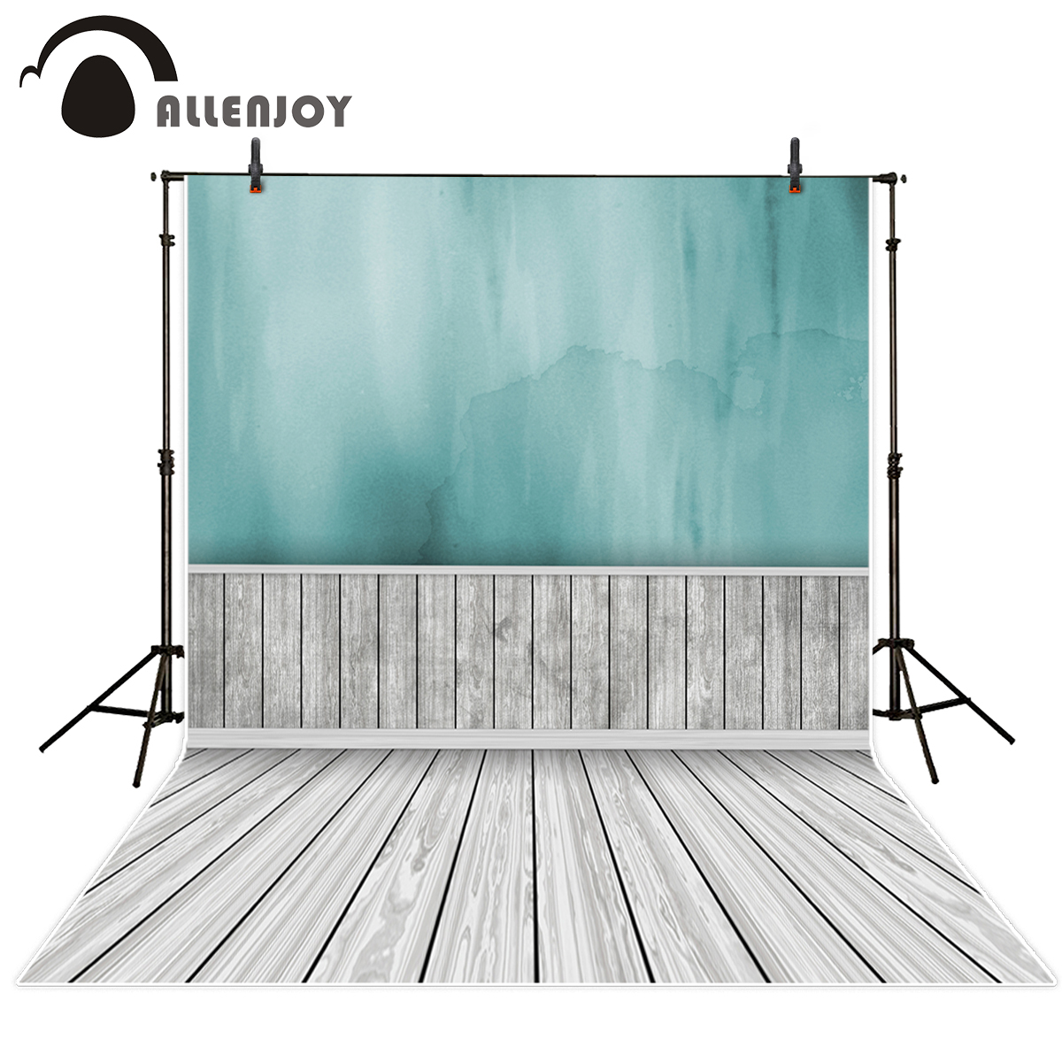 Allenjoy photographic background wooden floor ocean blue fade waterlogging Indoor vinyl backdrops for photography photo studio недорого