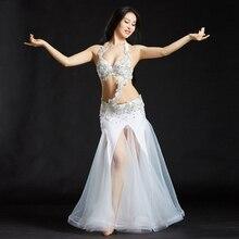 2017 Professional Dance Wear Belly Dance Clothes 3pcs Beaded Bra Belt Skirt Set Women Oriental Dance Costumes