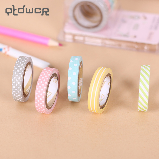 5PCS/Set Candy Color Rainbow Striped Dots Washi Tape Set Decorative Scotch Tape Papelaria Label Masking Sticker Tape