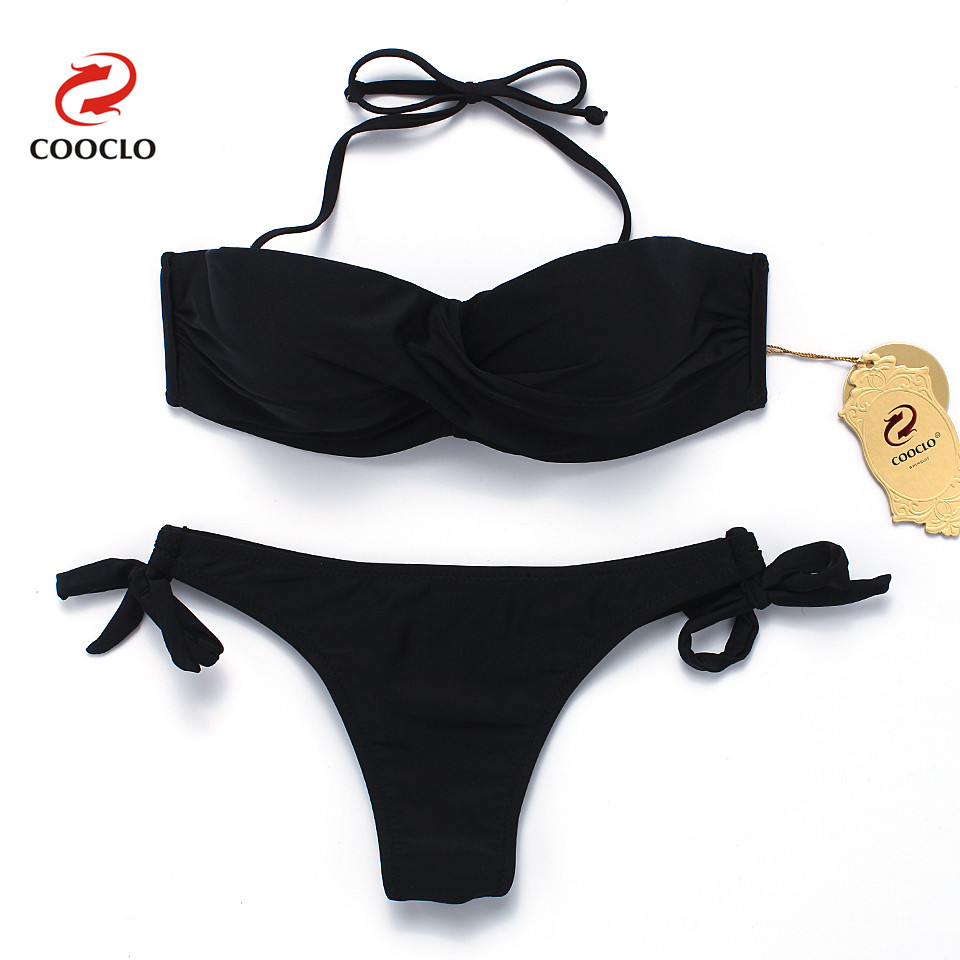 COOCLO Solid Twisted Bandeau Bikini 2017 Women Swimwear Halter Push up Bikinis Brazilian Bottom Beach Wear Swimsuit Biquinis