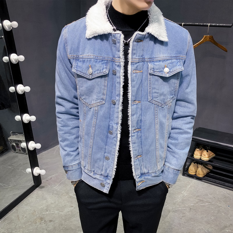 men winter denim jackets light blue jean jackets new male