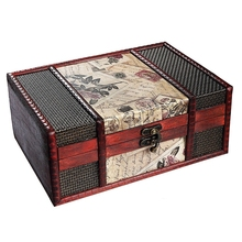 Treasure Box 9.0inch Retro Stamps Small Trunk for Jewelry Storage,Treasure Cards Collection,Gift Box,Gifts and Home Decora