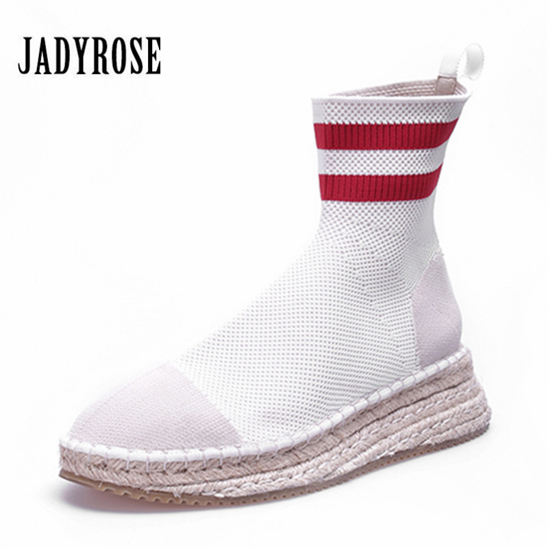 Jady Rose Fashion Knit Sock Boots Women Platform Boots Stretch Ankle Boots Slip On Short Booties Creepers Espadrilles Flat Shoe автоколонка pioneer ts a6933i