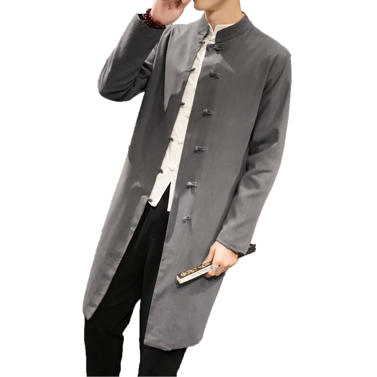 Chinese style Male Linen Wind Coat Mandarin Collar Casual Solid Color Button Tang National Clothing Long   Trench   Outwear 5XL