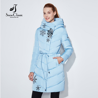 Snowclassic 2018 Spring and Autumn Women's Printed Cotton Top Coat with Fashion and Warm Breathable Cap Hat Belt Jacket 17227
