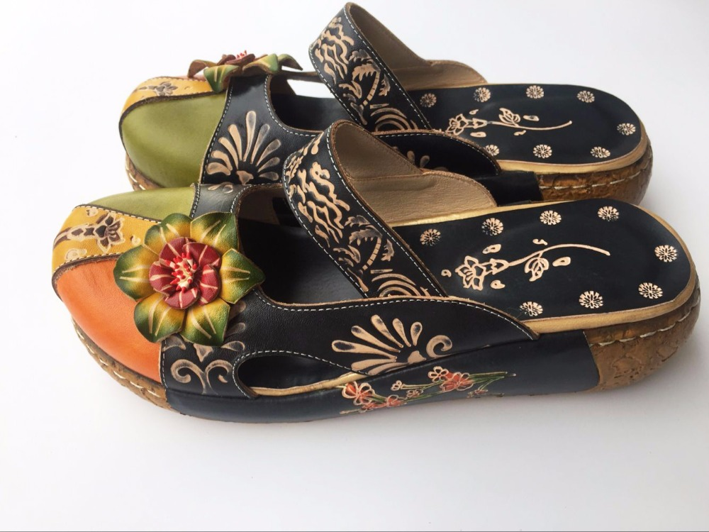 Careaymade nuevo estilo popular capa de cabeza de cuero de vaca zapatos tallados hechos a mano, los zapatos de chica mori de arte retro, sandalias informales para mujer-in Zapatillas from zapatos    2