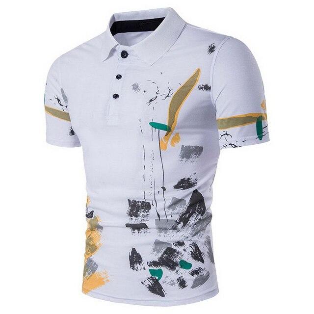 Laamei Homens Polo Camisa Casual Masculino de Algodão de Manga Curta Polo  Camisa Impressão Slim Fit 4e9d3c63cbf38
