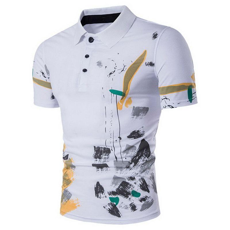 e23f71e2f6 Laamei hombres Polo Camisa Casual manga corta Hombre algodón Polo estampado  Slim Fit Camisa Polo nuevo verano hombre ropa 2019