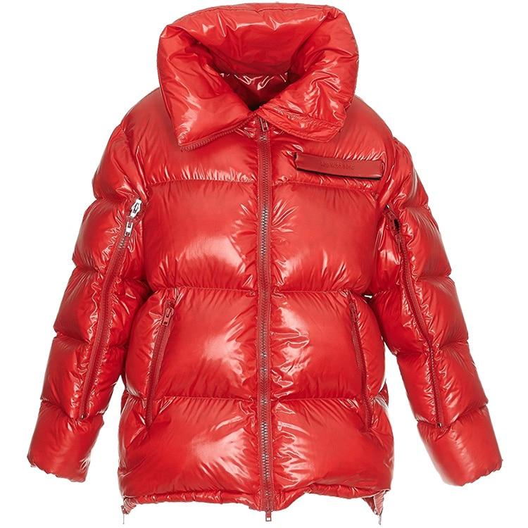 Réel Lâche 2018 Longue Pas Vente Manteau Coton Lumineux Directe Veste D'hiver Col Grande Visage Femmes Taille Rembourré Épaissie Noir Section rouge d8w84qOr