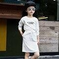 2016 новый полосой девушки юбка установить полный рукав рубашки с письмо и юбка повседневная одежда костюм о-образным вырезом спортивный костюм для весна