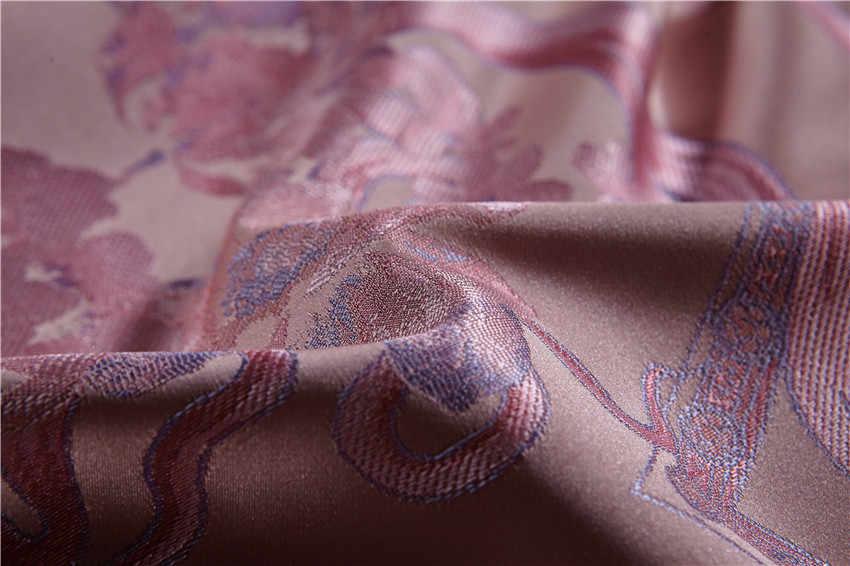 4/6/10 ピースピンク高級シルクサテンコットンジャカード寝具セットクイーンキングサイズの結婚式の布団カバーベッド/フラットシートベッドスプレッドセット