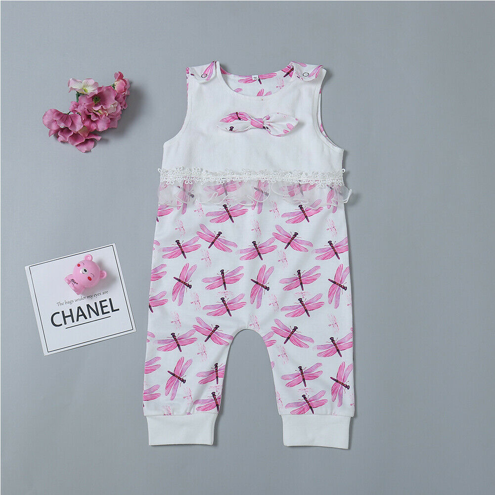 Infant Newborn Baby Girls Dragonfly Sleeveless Jumpsuit Outfits Clothes