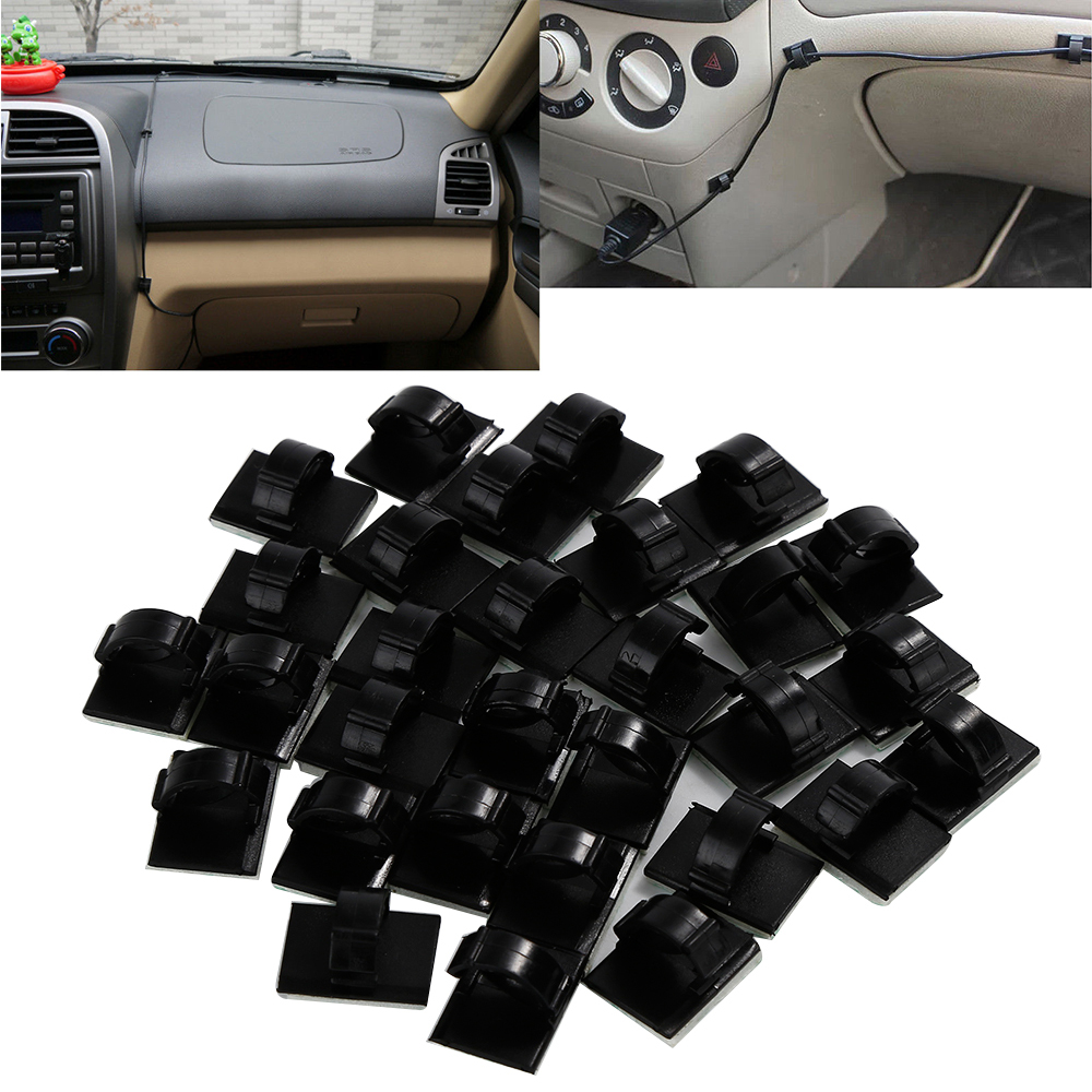 New 30Pcs Black Plastic Car Wire Tie Self-adhesive Rectangle Cord Management Cable Holder Organizer Mount Clip Clamp
