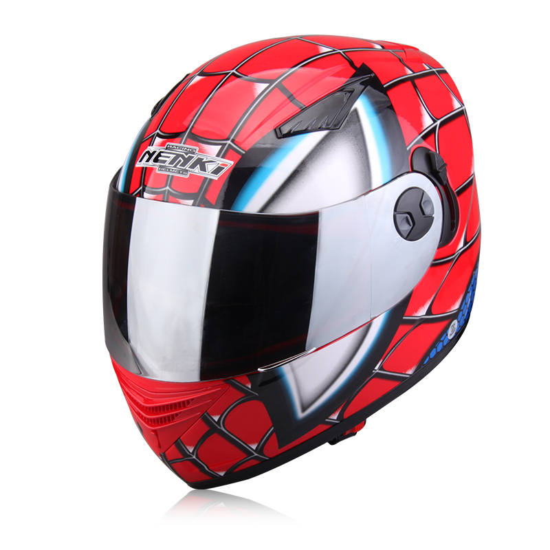 NENKI brand Spiderman Protective Gears child star Mary IronMan capacete casco moto full face helmets dual lens motorcycle helmet 2017 new yohe full face motorcycle helmet yh 970 double lens motorbike helmets made of abs and pc lens with speed color 4 size