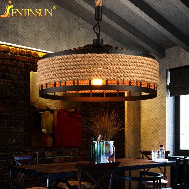 vintage rope pendant lights lamp loft metal light industrial lighting american style for aisle dining room - Industrial Lighting Dining Room