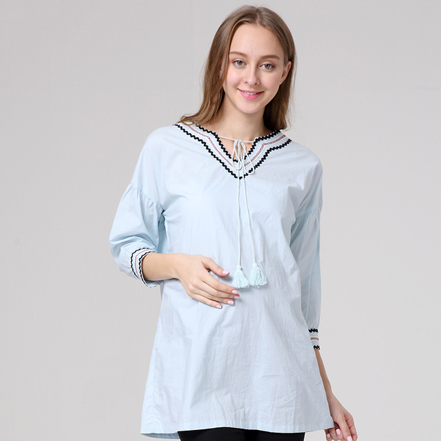 Korean Fashion Maternity Blouses three quarter Sleeve ...
