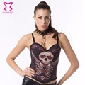 Red Rose Flower&Skull Printed Cotton Corsets And Bustiers Sexy Korset Steampunk Corset Corselet Corpete E Corseletes Espartilhos