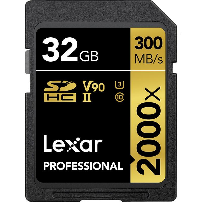 Promotion!!! Lexar 32 GB SDHC Carte 64 GB 128 GB carte sdxc U3 2000X UHS-II 300 Mo/S Haute Vitesse Mémoire Flash Pour 3D 4 K caméra vidéo
