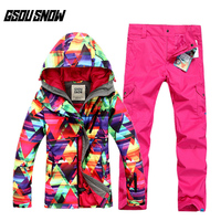 GSOU снег дамы лыжный костюм зимний теплый ветрозащитный Водонепроницаемый дышащий Лыжная пальто лыжные брюки для Для женщин размеры xs l