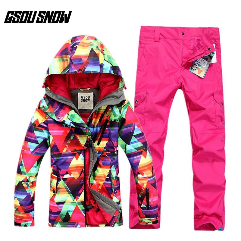 GSOU SNOW Ladies Ski Suit Winter Warm Windproof Waterproof Breathable Ski Coat Ski Trousers For Women Size XS L
