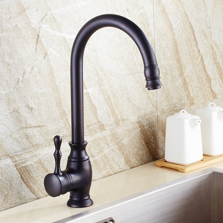 Kitchen sink faucet black bronze copper imitation black patina European hot and cold water basin faucet executives pastoralism and agriculture pennar basin india