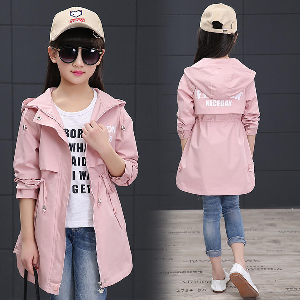2018 Spring Long Girls Jacket Childrens Clothing Girl Trench Coat Letter Printed Autumn Teenager Hooded Girl Coat and Jackets2018 Spring Long Girls Jacket Childrens Clothing Girl Trench Coat Letter Printed Autumn Teenager Hooded Girl Coat and Jackets