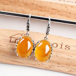 Image 5 - Jiashuntai retro brincos de prata para as mulheres do vintage vermelho amarelo pedras preciosas com 925 prata esterlina jóias indianas pendientes