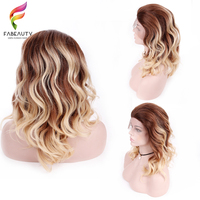 Ombre Синтетические волосы на кружеве парики человеческих волос для женщины бразильский волна кружева парик предварительно сорвал с волосы м