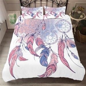 Image 1 - Bettwäsche Set 3D Druckte Duvet Abdeckung Bett Set Dreamcatcher Böhmen Hause Textilien für Erwachsene Bettwäsche mit Kissenbezug # BMW04