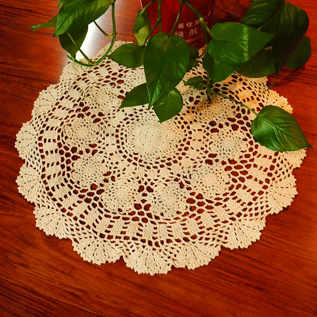 Handmade Crocheted Hook Flowers Cotton Lace Table Cloth / Many Uses /  Hollow Round Decorative Mat