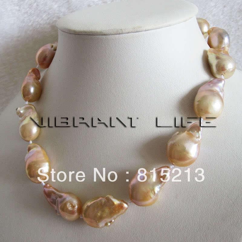 Femmes cadeau mot amour ddh001062 13-15.2mm pêche rose Keshi collier de perles d'eau douce 28% de réduction (A0322) femmes mariage Noble sty