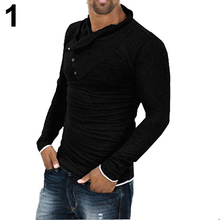 Men Cool Long Sleeve Diagonal Buttons Decor Heap Collar T-Shirt Fashion Slim Top