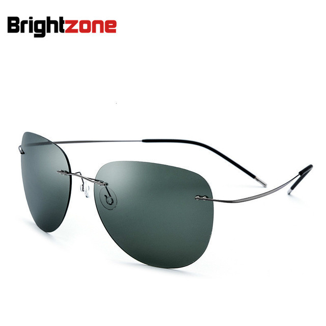 2018 New Fashion 100% Pure Titanium Polaroid Polarized Super-thin Lightest Rimless Sunglasses Unisex Gray Rim Dark-green Lens