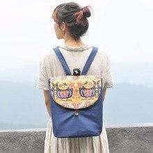 National girls backpack cock canvas girls bag blue college bag journey bag handmade backpacks