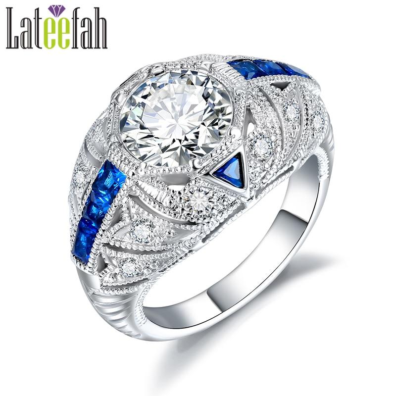 Aliexpress Com Buy Blue Stones Art Deco Vintage Ring