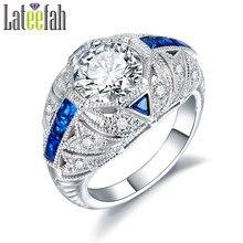 0e84f8e0dba0 Art Deco filigrana anillos de compromiso para las mujeres grandes piedras  zirconia cúbico azul vintage de lujo hembra anillo bag.