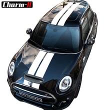 Автомобильный Стайлинг двойной ралли гоночный капот загрузки задняя крыша полосы Наклейка виниловая для Mini Cooper R56 R50 R53 F55 F56 F60 R60 R55