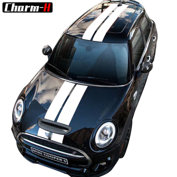 Car Styling Dual Rally Racing Bonnet Boot Rear Roof Stripes Decal Sticker Vinyl for Mini Cooper R56 R50 R53 F55 F56 F60 R60 R55 2pcs set door rear view mirrors cover case sticker decal car styling for mini cooper one s r50 r52 r53 2002 2006 accessories