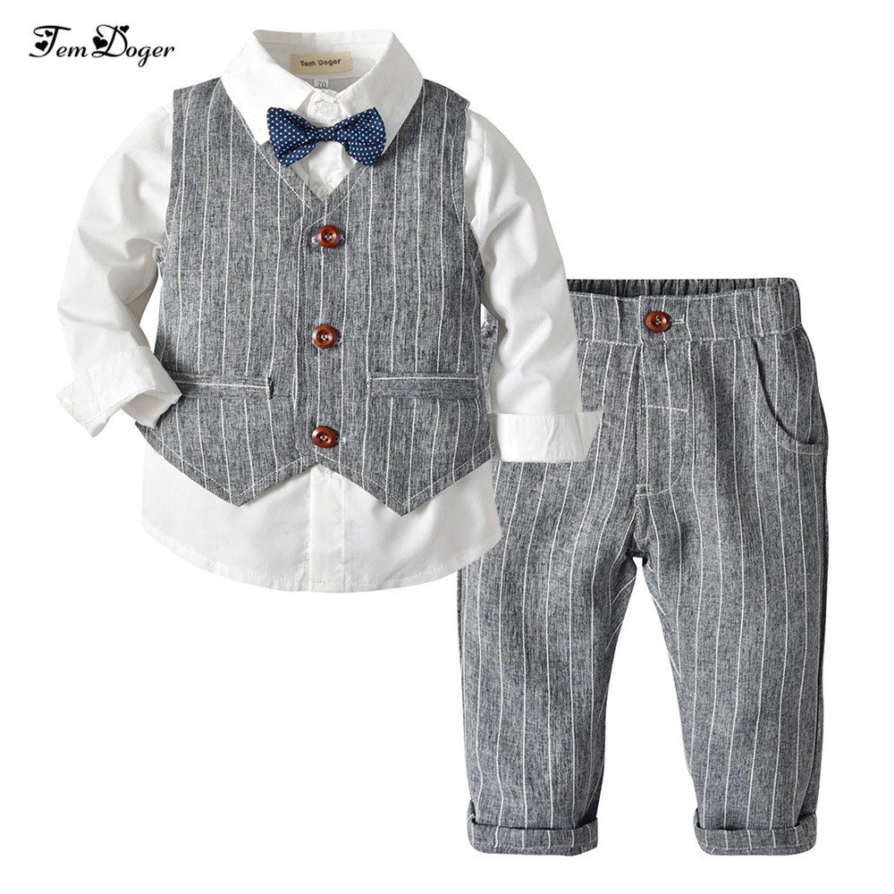 6ca55fe3624 Tem Doger Boy Clothing Sets 2018 Winter Kids Baby Boys Clothes Long Sleeve  Shirts+Vest