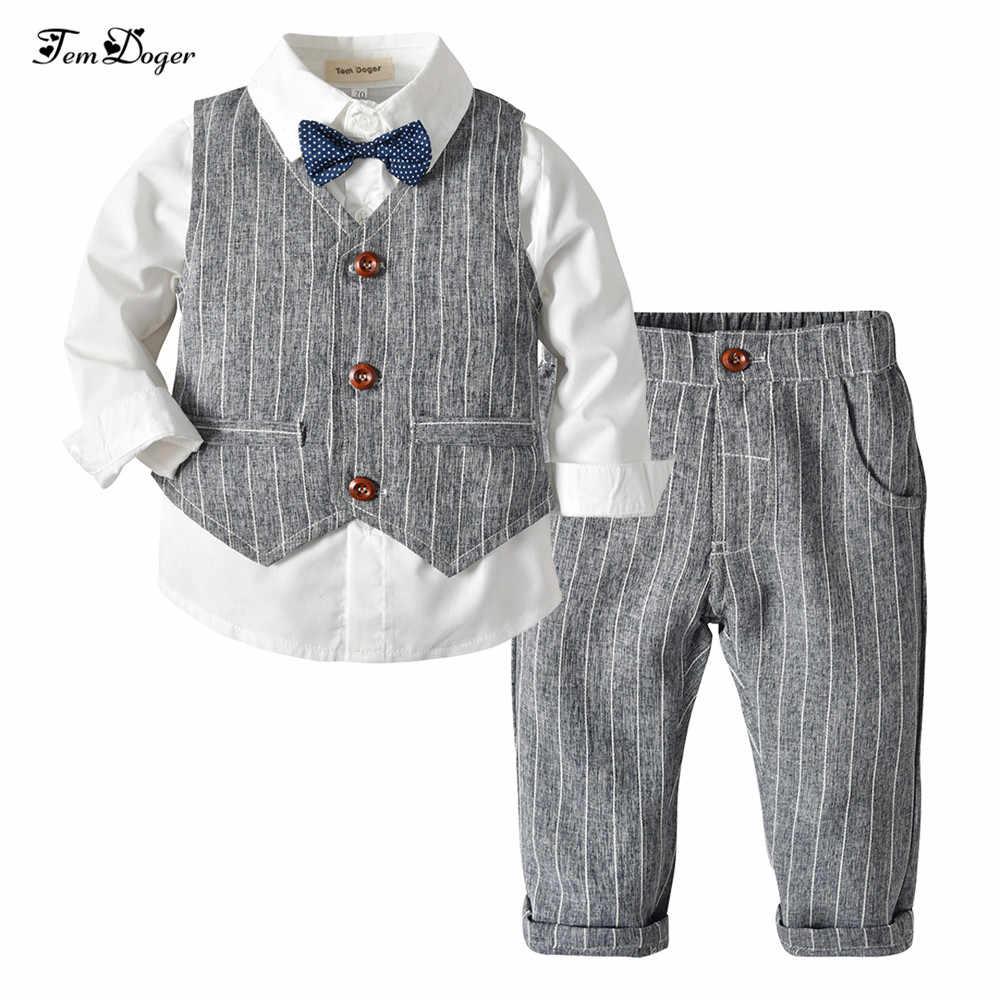 dd2417fa5 Tem Doger Boy Clothing Sets 2018 Winter Kids Baby Boys Clothes Long Sleeve  Shirts+Vest