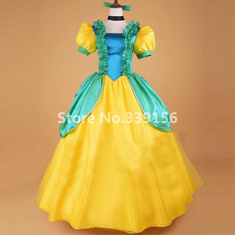 Yellow/Red Marie Antoinette Princess Dress Victorian Movie Cinderella Gown Dress Theater Women Costume