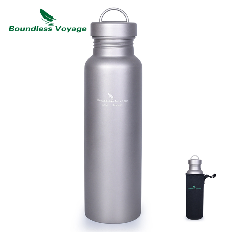 Boundless Voyage Titanium Water Bottle with Titanium Lid Outdoor Camping Sports Bottle Cup Mug Tableware 27oz
