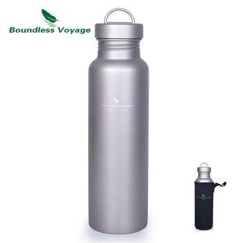 Безграничная Voyage титановая бутылка для воды с титановой крышкой, открытая спортивная бутылка для кемпинга, чашка, кружка, посуда, 27 унций/800 ...