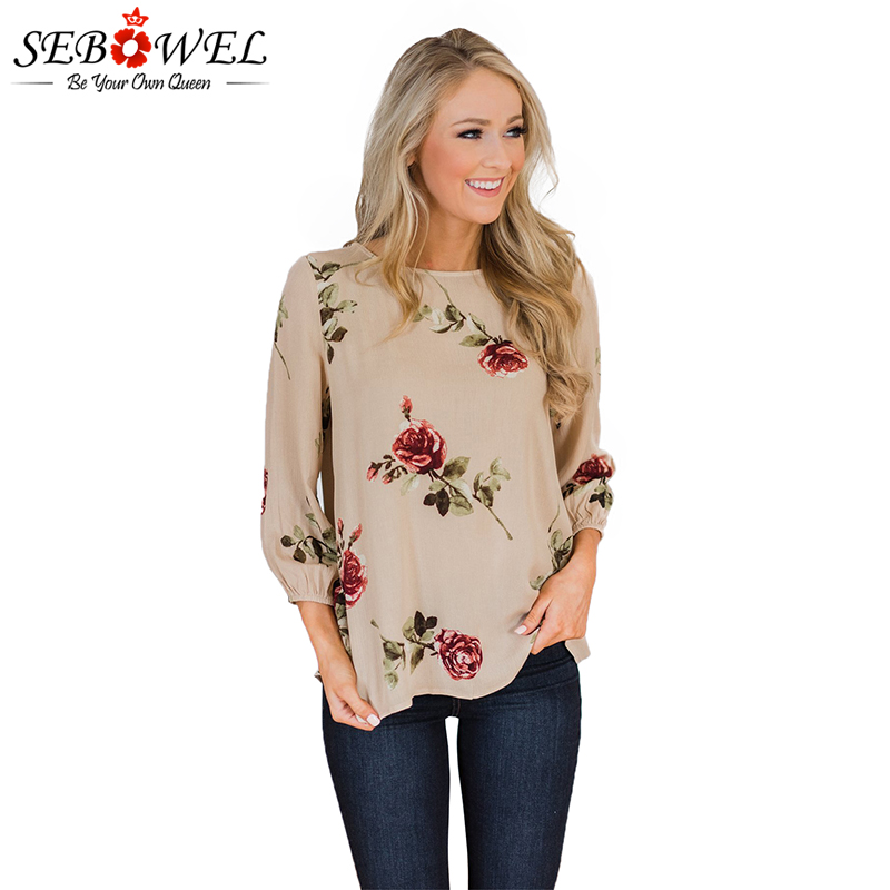 SEBOWEL Floral Print Women   Blouses     Shirts   2019 Button up Back Womens Tops and   Blouses   Spring Summer Female   Shirts   Tops Apricot