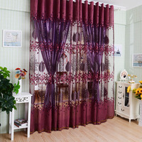 1zx2 5m Luxury Floral Printed Patterns Tulle Voile Door Window Curtains Upscale Jacquard Yarn Livingroom Decoration